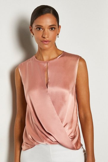 Rose Silk Satin Sleeveless Wrap Blouse