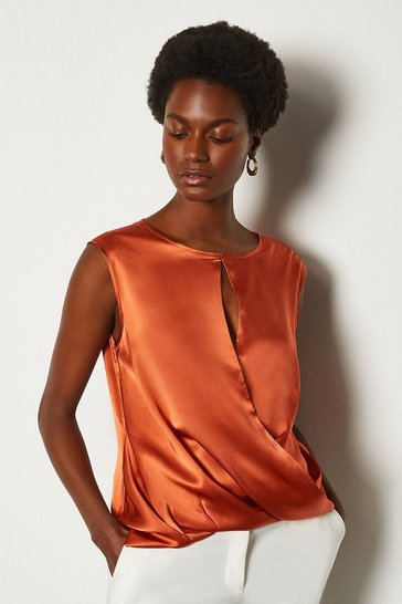 Tan Silk Satin Sleeveless Wrap Blouse
