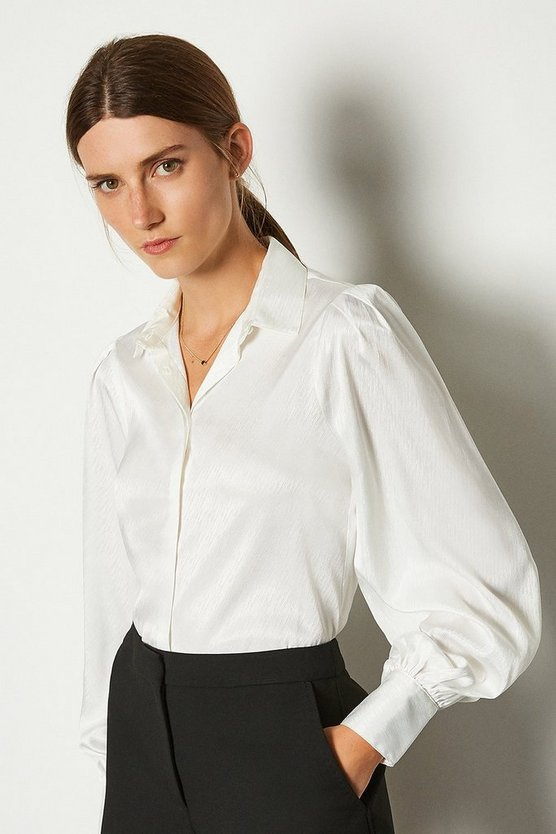 White Roleaux Cuff Shirt