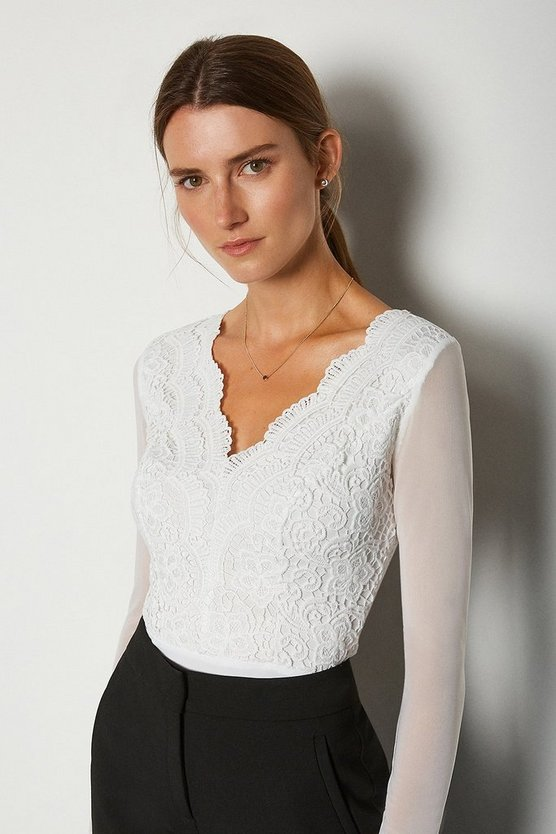 Ivory Long Sleeve Lace Bodysuit