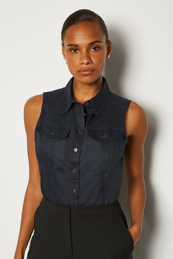 Navy Cotton Poplin Sleeveless Shirt