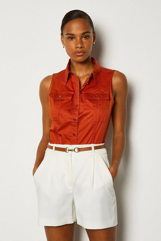 Tan Cotton Poplin Sleeveless Shirt
