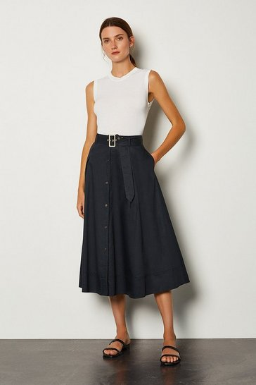 Navy Cotton Poplin Button Up Skirt