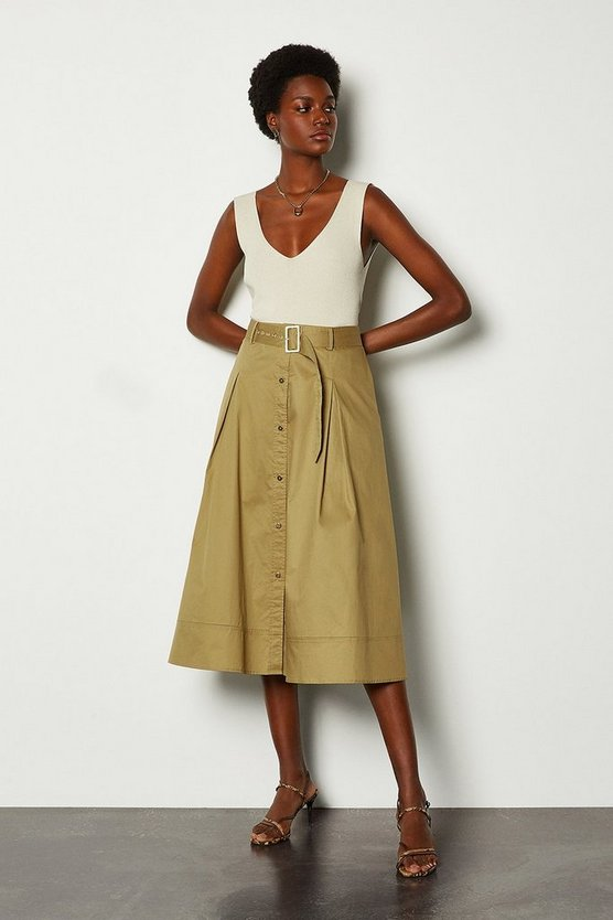 Stone Cotton Poplin Button Up Skirt
