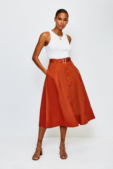 Tan Cotton Poplin Button Up Skirt