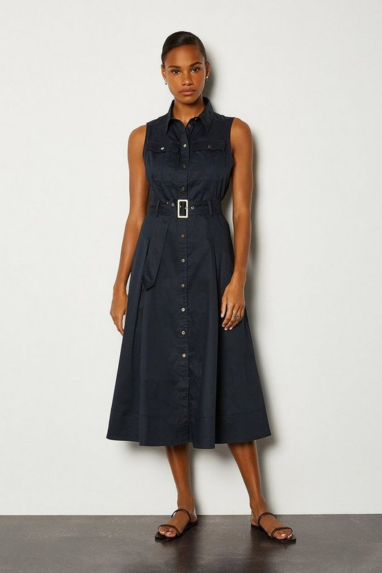Navy Cotton Poplin Tie Waist Dress