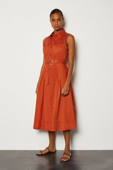 Tan Cotton Poplin Tie Waist Dress