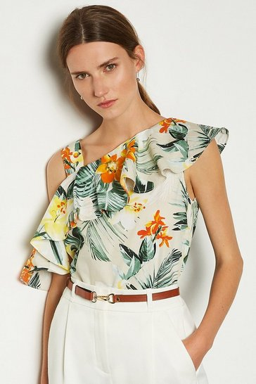 Yellow Cotton Floral Print Top