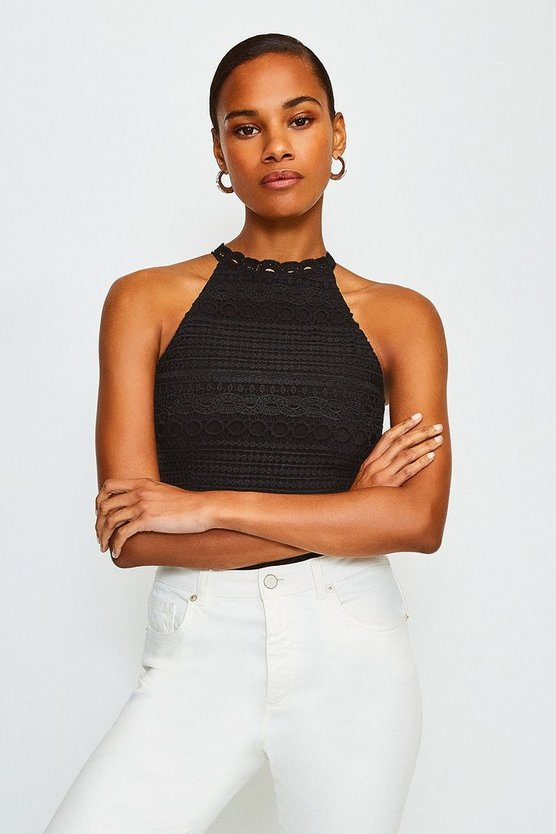 Black Crochet Bandage Top