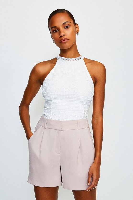 White Crochet Bandage Top