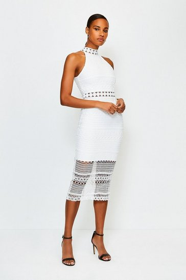 White Crochet Bandage Dress