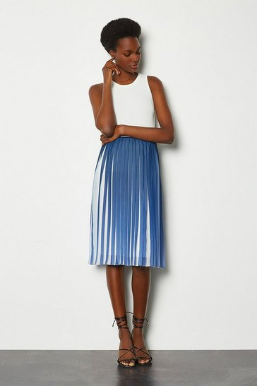 Blue Two Tone Pleat Midi Skirt