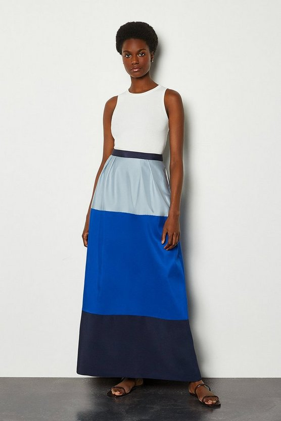 Blue Colourblock Pencil Skirt