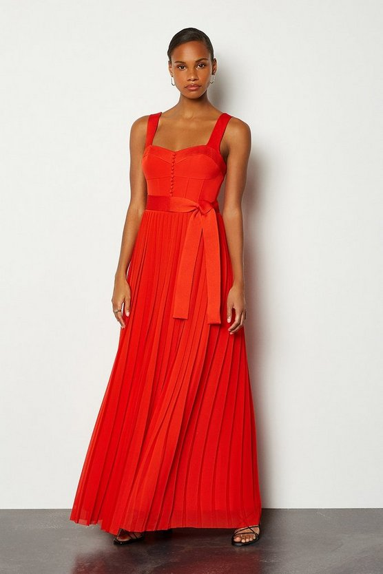 Red Multi Stitch Corset Top Maxi Dress