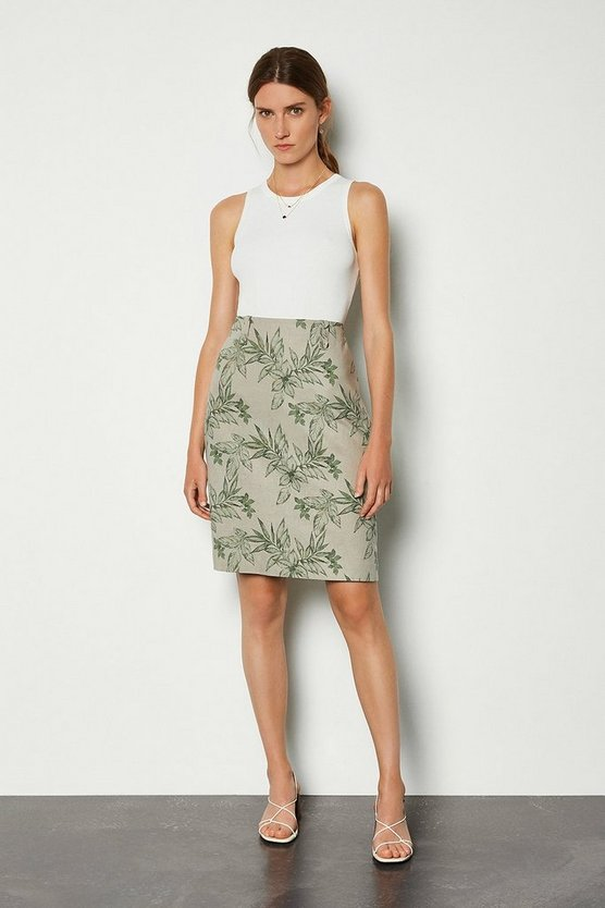 Multi Floral Leaf Linen Mix Skirt