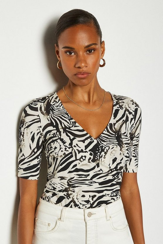 Black Printed Wrap Front Viscose Jersey Top