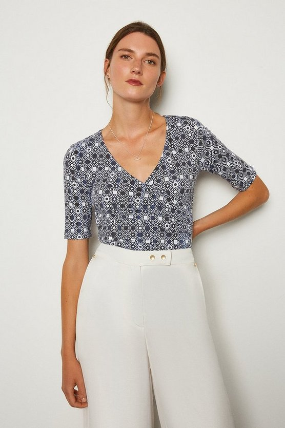 Blue Printed Wrap Front Viscose Jersey Top