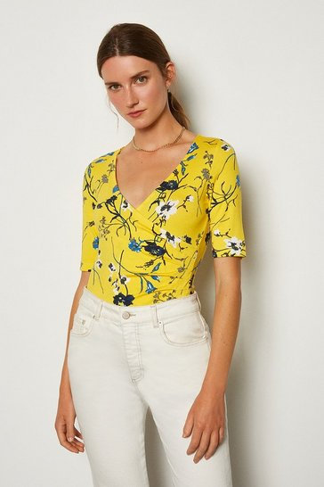 Yellow Printed Wrap Front Viscose Top