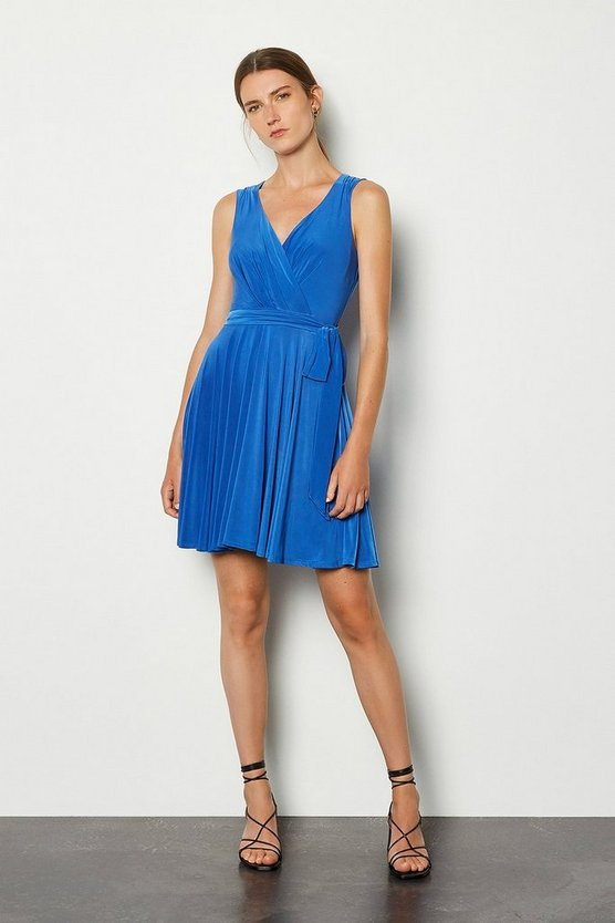 Blue Cross Over Belted Skater Jersey Dress