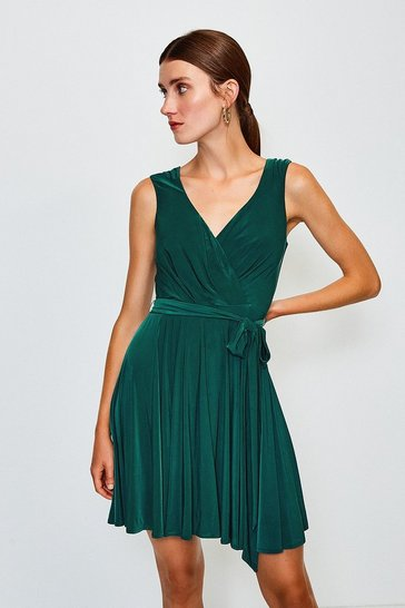 Green Cross Over Belted Skater Dress