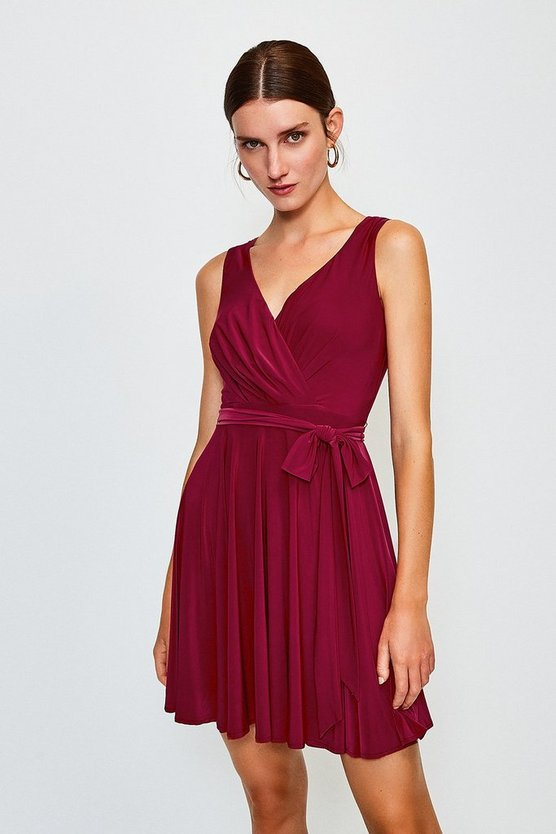 Wine Cross Over Belted Skater Jersey Dress