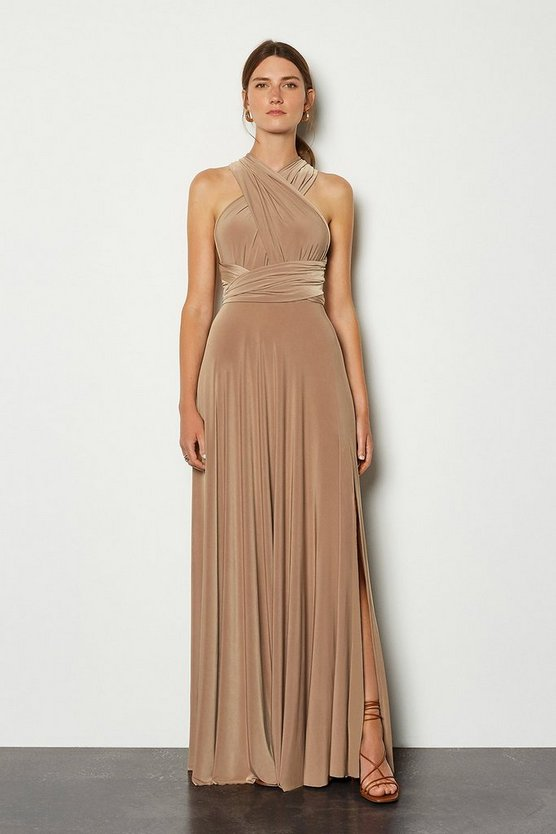 Camel Multiway Jersey Maxi Dress
