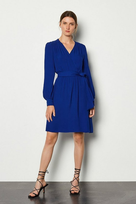 Blue Long Sleeve Short Wrap Dress