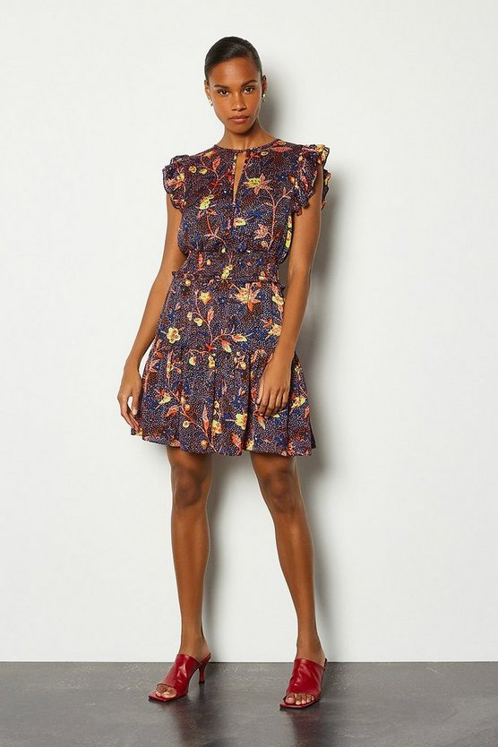 Floral Batik Print Sleeveless Short Dress