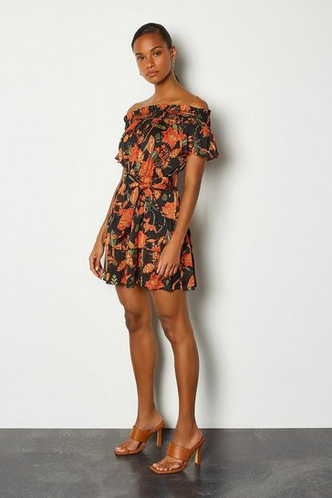 Floral Batik Print Short Sleeve Dress