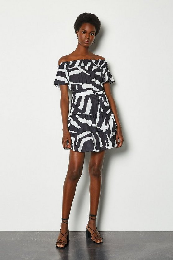 Zebra Batik Print Short Sleeve Dress