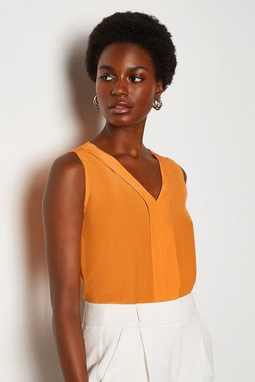 Orange Silk V Neck Sleeveless Blouse