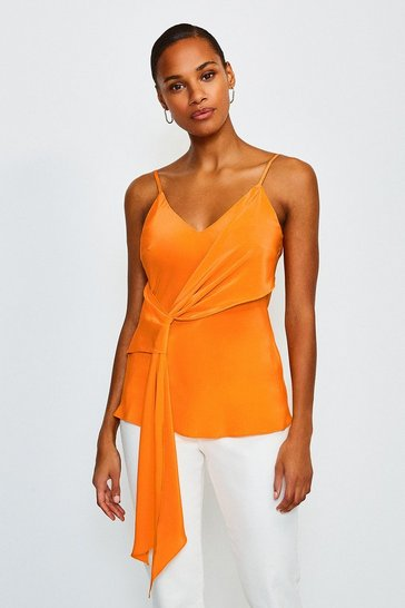 Orange Silk Tie Front Cami