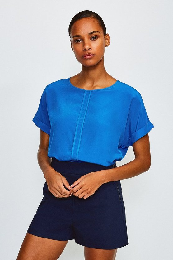 Blue Silk Boxy Tee