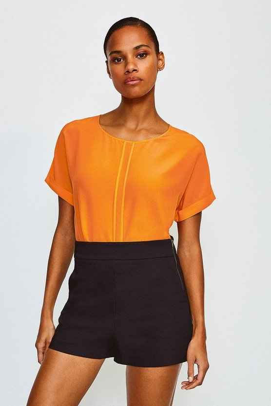Orange Silk Boxy Tee