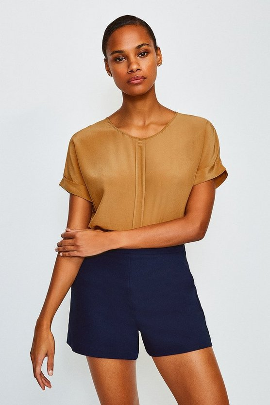 Tan Silk Boxy Tee