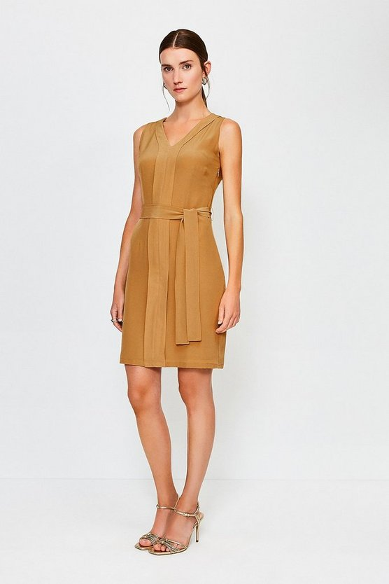 Tan Silk Tie Waist V-Neck Short Dress