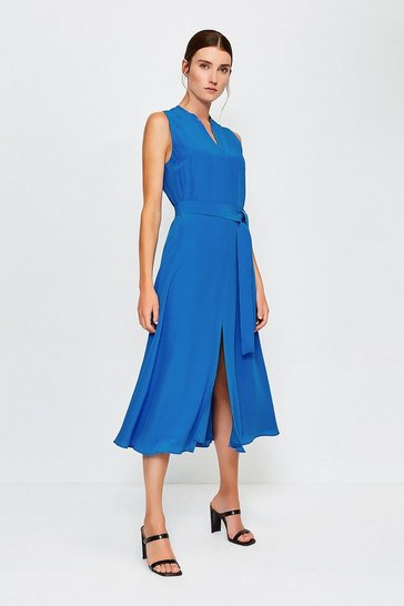 Blue Silk Sleeveless Long Dress