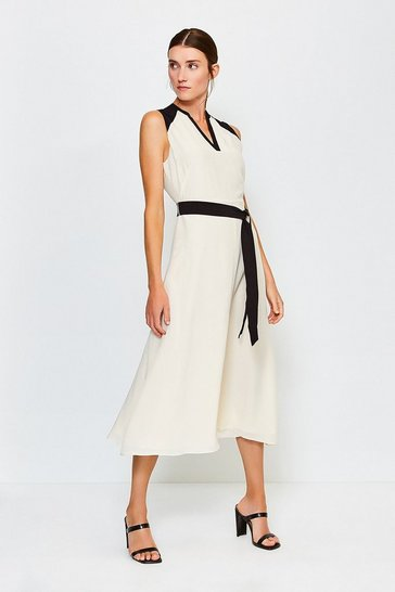 Ivory Silk Sleeveless Long Dress