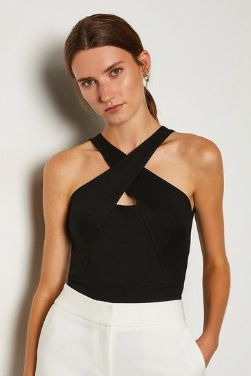 Black Ponte Cross Front Halter Top
