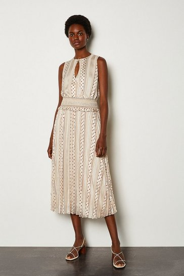 White Mixed Spot Wrap Front Printed Dress