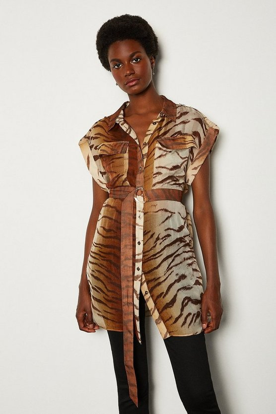 Animal Silk Print Tie Waist Sleeveless Shirt