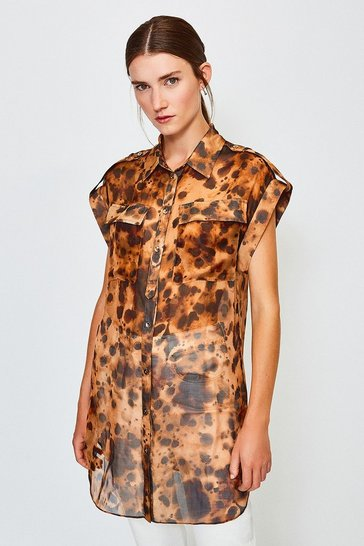 Leopard SilK Tie Waist Sleeveless Shirt