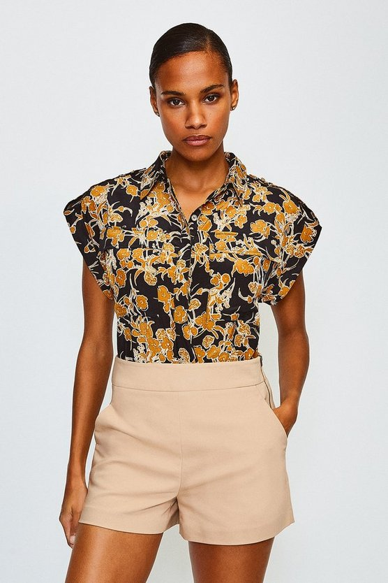Black Double Pocket Printed Shirt