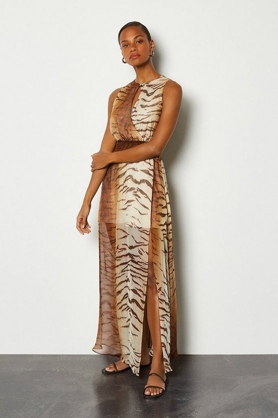 Silk Animal Print Wrap Front Long Dress