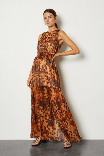 Leopard Animal Print Wrap Front Long Dress