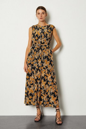 Black Printed Tie Waist Dress