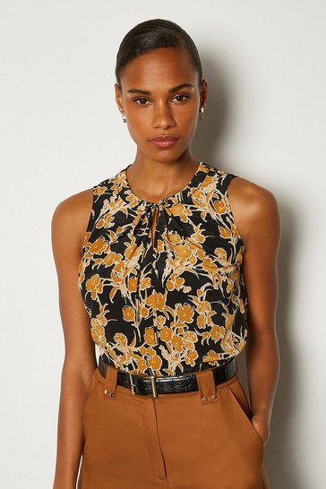 Black Printed Tie Front Shell Top