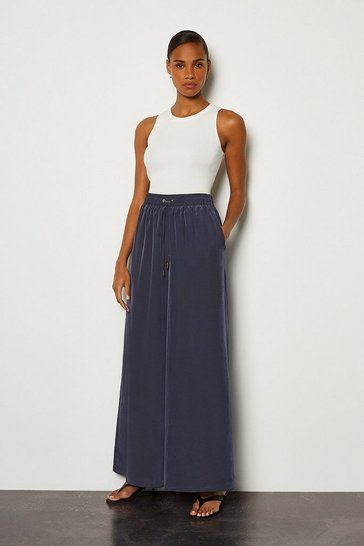 Navy Palazzo Wide Leg Trouser