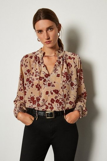 Tan Printed Volume Sleeve Blouse