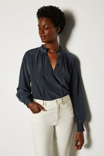 Navy Volume Sleeve Blouse